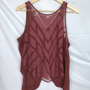 Free People Red Ethereal Daze Sheer Tank Top M
